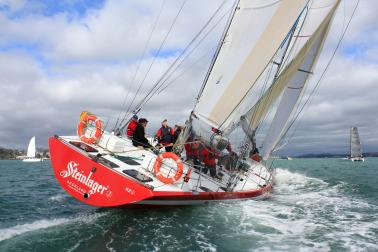 Red racing yacht